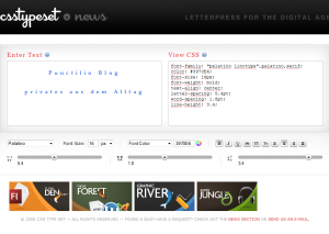 Screenshot von CSS Type Set